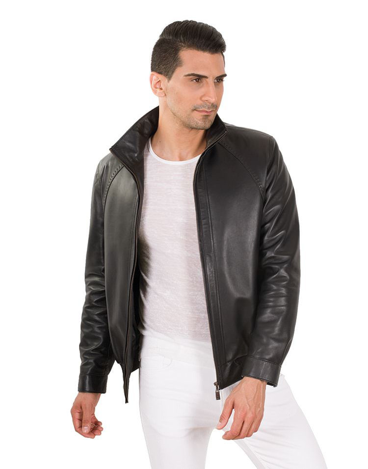 BOMBER MEN LEATHER JACKET