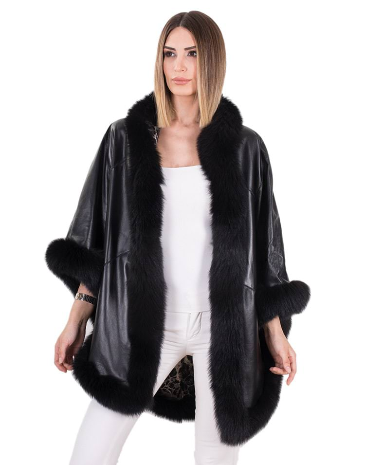 FURINA WOMEN LEATHER PONCHO