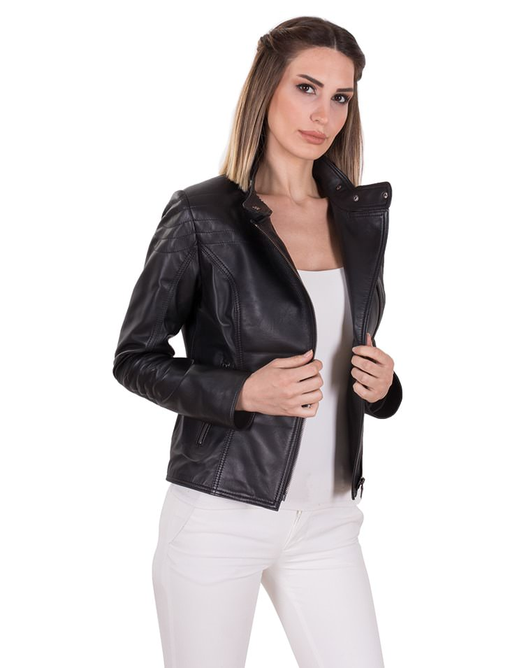 STONE WOMEN LEATHER JACKET