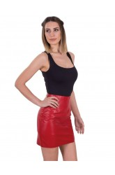 WOMEN LEATHER MINI SKIRT